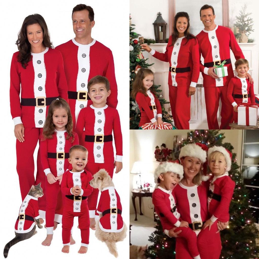 Christmas Family Matching Pajamas Set Santa Adult Kids Women  Xmas Santa Sleepwear Cosplay 2019 Long Sleeve Home Wear Gifts
