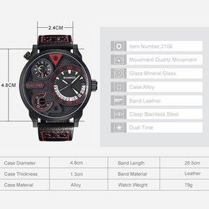 Image 4 - นาฬิกาแฟชั่นผู้ชายกีฬานาฬิกาควอตซ์BOAMIGO BrandแบบDualเวลาวันที่นาฬิกาข้อมือสายหนังกันน้ำRelogio Masculino
