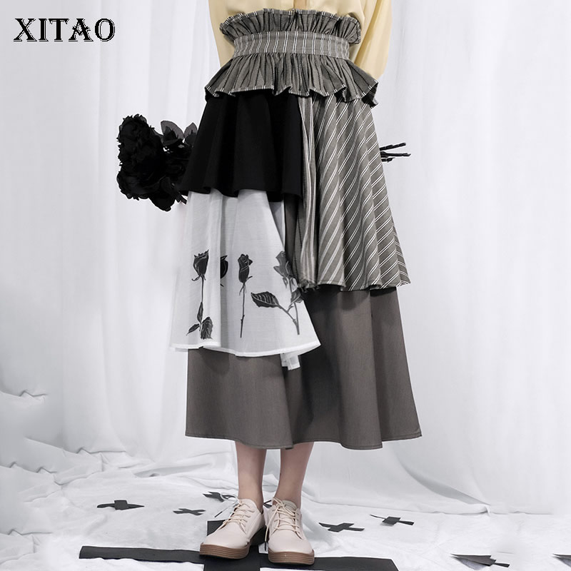 XITAO Pleated Women Skirt Irregular 2020 Spring Pleated Patchwork Small Fresh Vintage Hit Color Goddess Fan Casual Skirt DMY2979