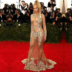 Mermaid Celebrity Dresses Sexy Red Carpet Beyonce Hot See Through Tulle Beaded Crystal Rhinestone Luxurious Evening Gown