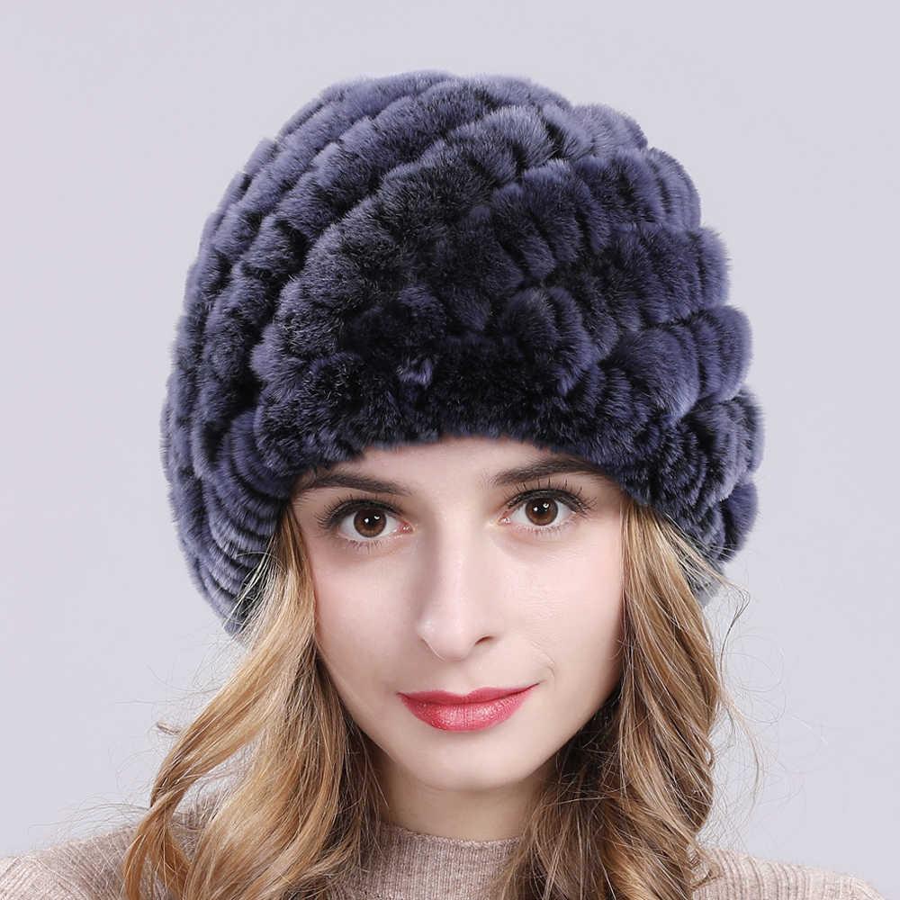冬のロシア女性リアルレックスウサギの毛皮の帽子ハンドメイドニット本レックスウサギの毛皮の帽子暖かい品質のウサギの毛皮ビーニー帽子