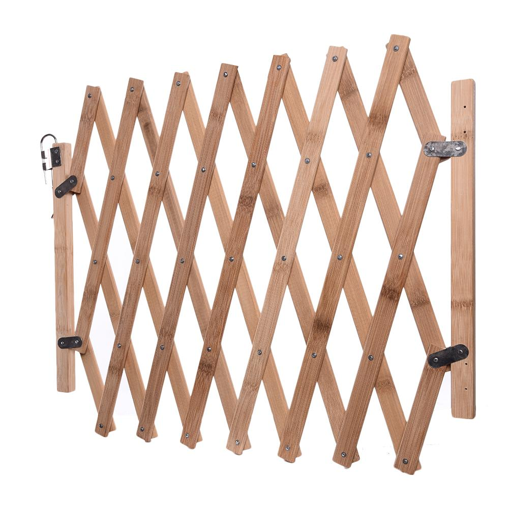 Dog Gate Wood Pet Safety Gate For Dogs Fence Portable Folding Safe Guard Protection Wooden Sliding Door Pets Supplies