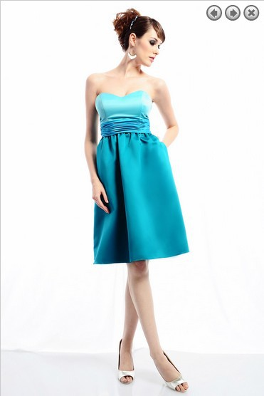 Free Shipping Maid Of Honor Dress 2014 New Fashion Bridal Gown Plus Size Satin Dress Light Blue Vintage Bridesmaid Dresses Cheap