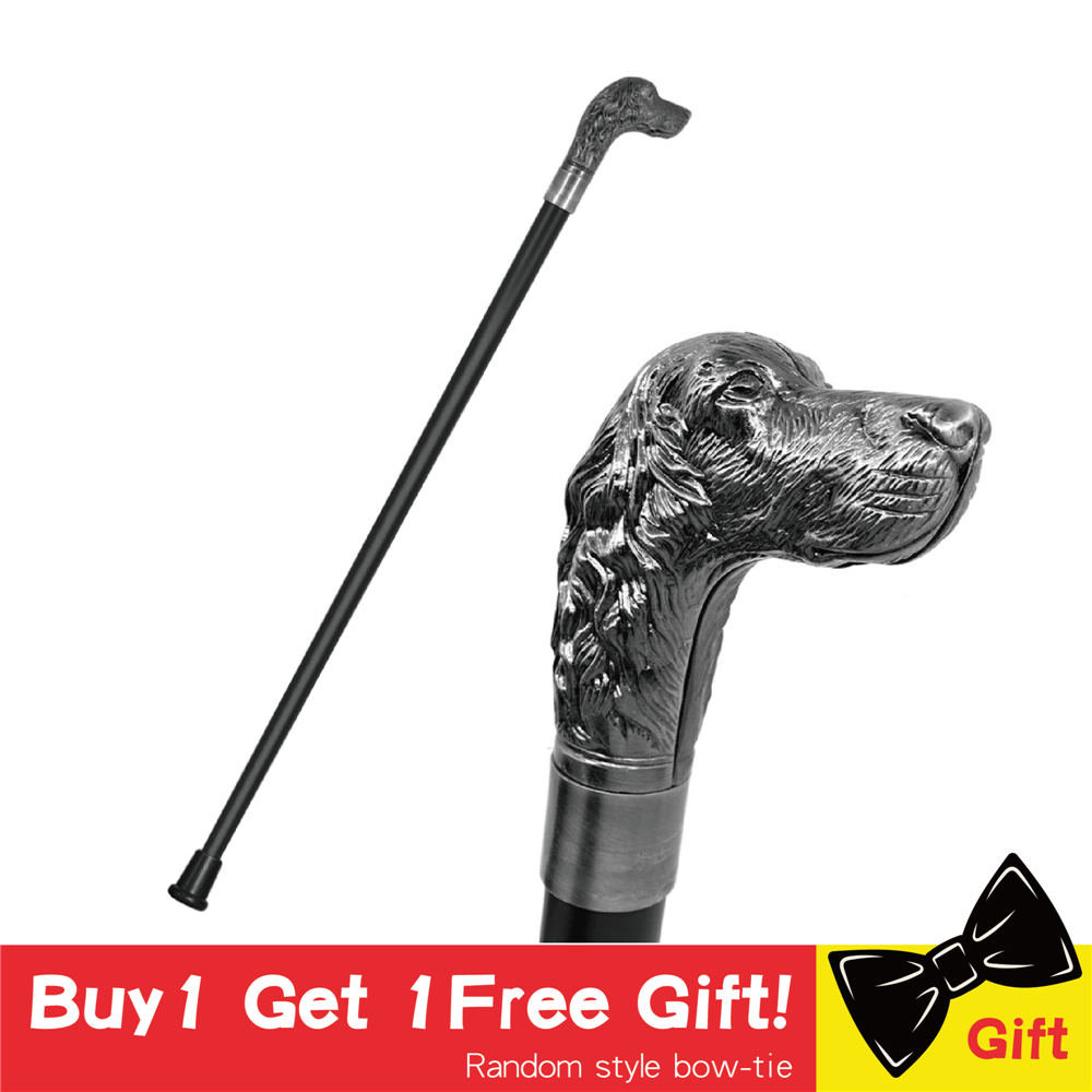 Men Vintage Cane Fashion Walking Stick Hunting Dog Hound Head Metal Canes Cane Hands Free Crutch Man Stick Canes Crutch For Men