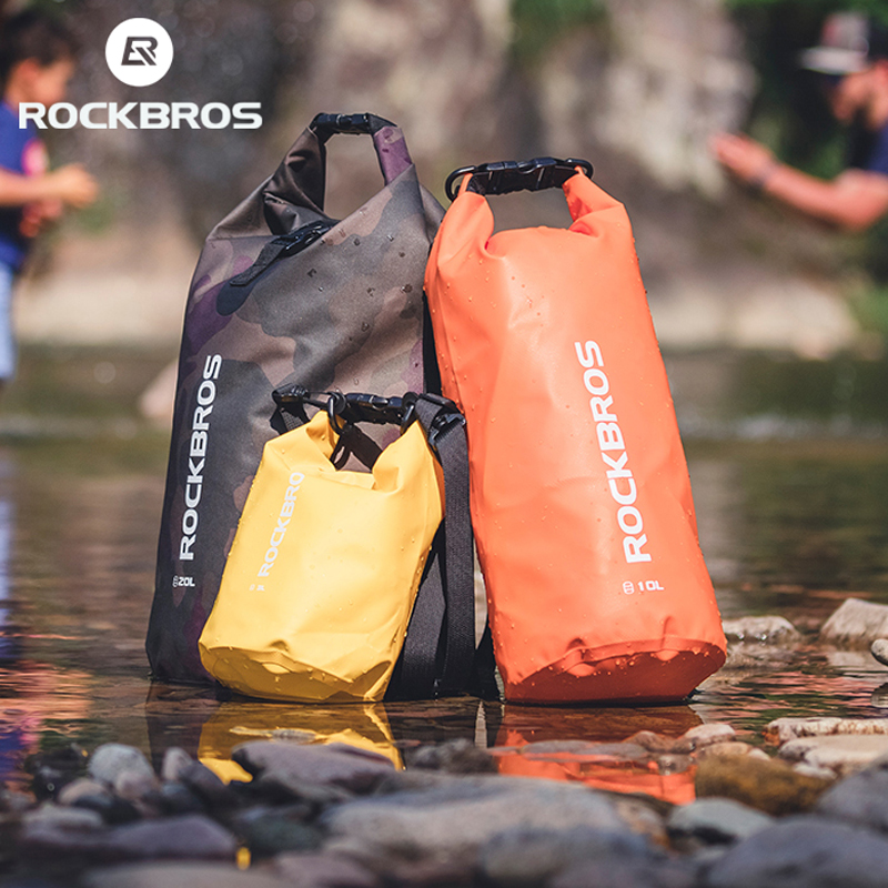 ROCKBROS 20L Sport Swimming Bag PVC Waterproof Backpack Fashion Bags For Women Men Sport Outdoor Hiking Shoulder Folding Bags