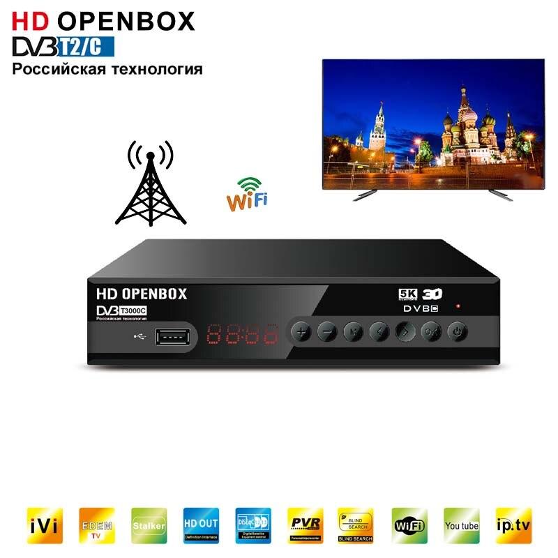 HDOPENBOX-Sintonizador receptor de TV DVB-T2/C, decodificador de señal DVB T2, enchufe USB Dual, carcasa de metal, caja de TV terrestre, Manual ruso