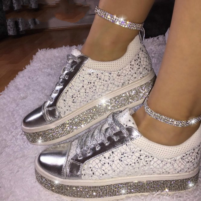 Womens Fashion Casual Rock Glitter Sparkling Sneakers Women's Lace Up Shoes White Sole Street Sneakers Shiny Dropship