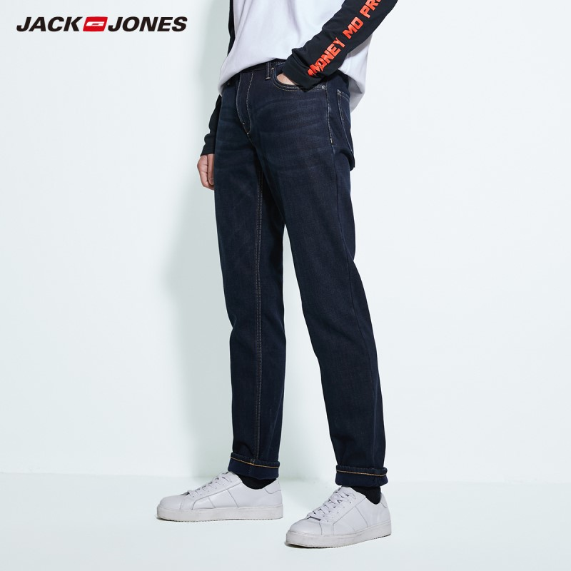 JackJones Men's Winter Basic Cotton Stretch Jeans Warm Denim Pants Menswear 219332587