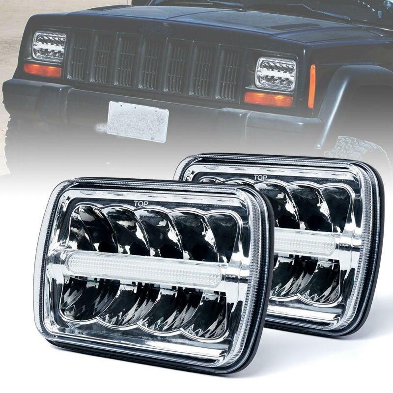 2PCS 4X6 inch Light Bulbs Crystal Clear Sealed Beam Headlamp for Peterbilt Rectangular Headlights 379 378 357