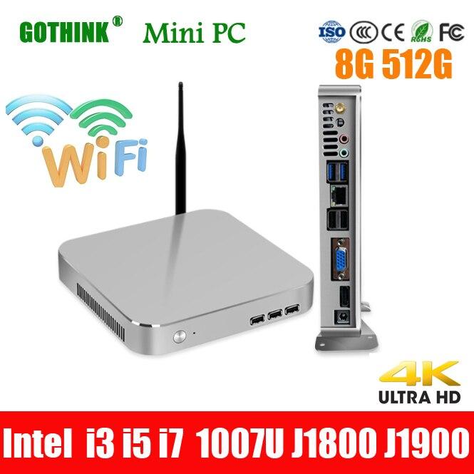 GOTHINK Mini PC  8G 512G Intel Core I3 I5 I7 Intel Celeron 1007U J1800 J1900 LINUX System 300M Wifi VGA Pocket Pc