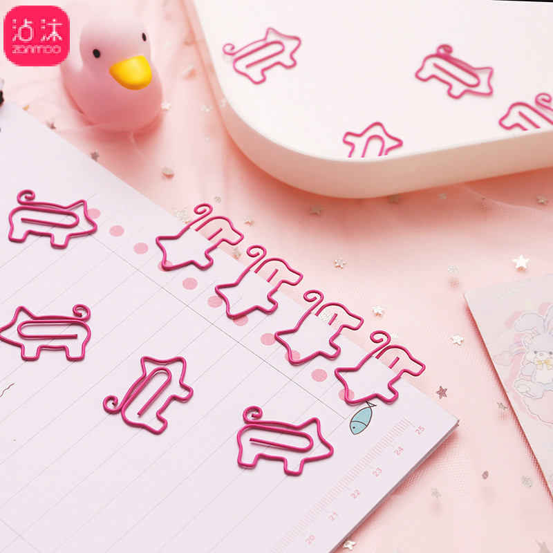 1230 Creative Piggy Bookmark Cartoon Camisole Volume Tail Piggy Clip Office Learning Supplies Soft Adorable
