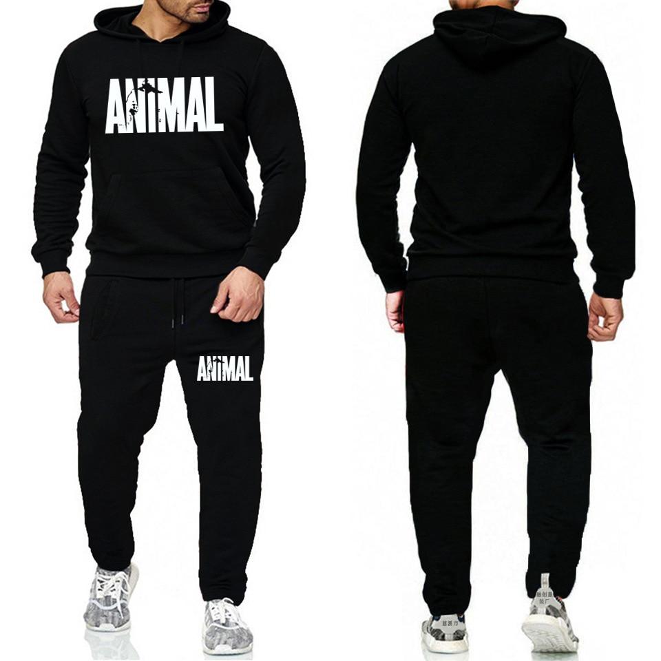 Animal Men Casual Loose-Fit Long Sleeve Hoodie Set Long Sleeve Hoodie Fitness Fleece