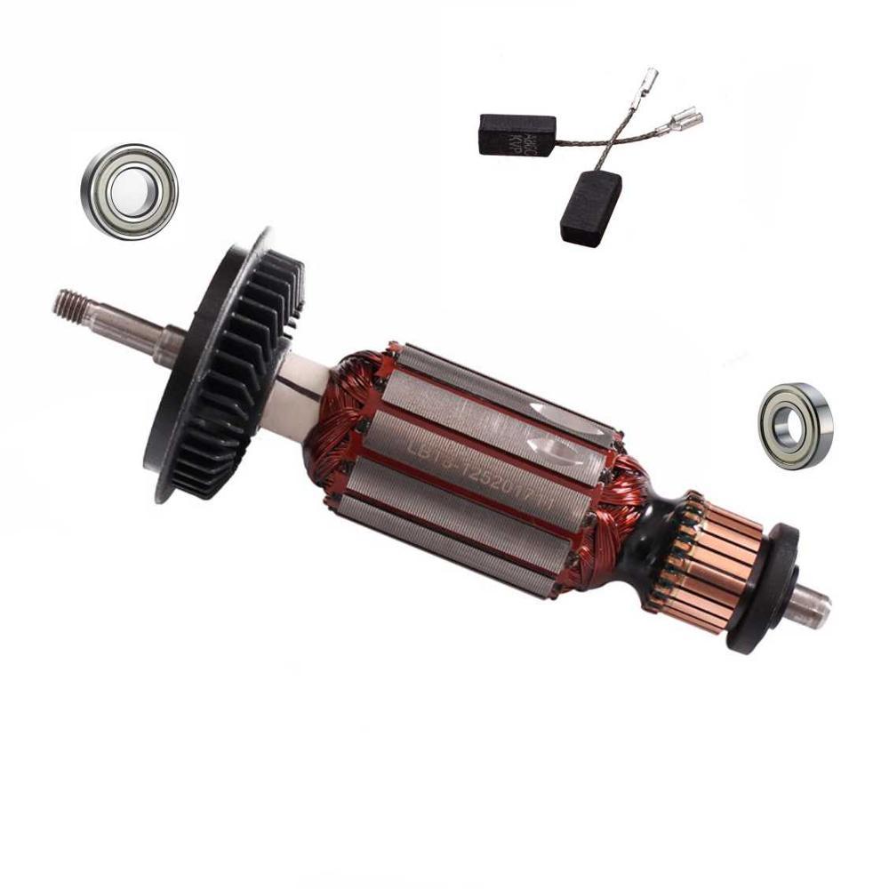 220V/240V Armature Rotor Shaft Ball Bearing Carbon Brush  For BOSCH GWS8 GWS 8-100 GWS 8-125 GWS8-125C GWS 850 Angle Grinder