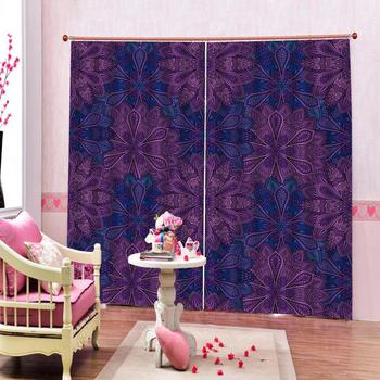 purple curtains Window Blackout Luxury 3D Curtains set For Bed room Living room Office Hotel Decoration curtains