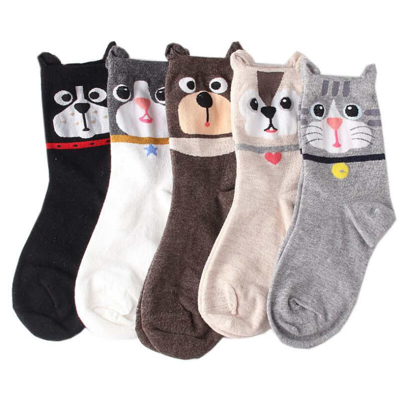 Recommend !!women's Socks Color 5pairs/lot Autumn-winter Cartoon Thermal Socks Ladies And Women's Cotton Funny Animal Sock