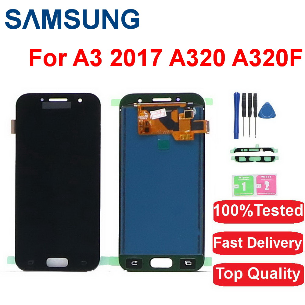 "100% Ttested 4.7 "" <font><b>LCD</b></font> For Samsung Galaxy A3 2017 <font><b>LCD</b></font> <font><b>A320</b></font> SM-A320F A320M A320Y <font><b>LCD</b></font> Display Touch Screen Digitizer Assembly image"
