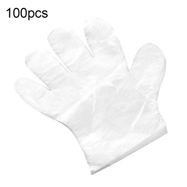 100Pcs Disposable Waterproof Elastic Polythene Kitchen Catering Cleaning Gloves