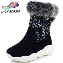 DORATASIA Plus Size 29-46 New Snow Boots Women Slip On Bling Flat Platform Shoes Woman Casual Winter Warm Fur Boots Ladies winter 2018 woman warm fox hair snow boots female slip on flat shoes woman casual knee high boots girls bling crystal boots