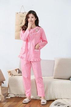 100% Cotton Pajamas Set Women Print Sexy Flower Pyjama Long Sleeve Shirt Pants 2Piece/Set Big Size Home Mom Sleepwear 100% cotton pajamas set women embroidery flamingo sexy pyjama long shirt pants 2 pieces set home fashion big size sleepwear