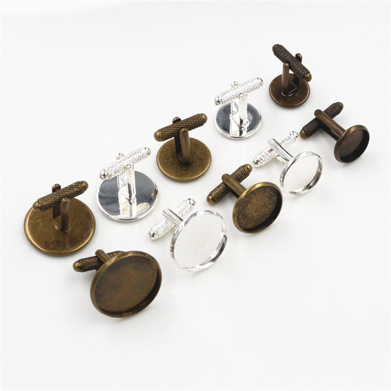 10pcs/ Lot 12mm,14mm,16mm,18mm,20mm, Bronze Silver Colors Threaded Rod Cufflink Base Cuff Link Settings Cabochon Cameo Base