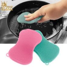 EHZ silikonowe zestaw szczotek do czyszczenia mycia naczyń deska do krojenia owoców szczotka antybakteryjna uniwersalny narzędzie do czyszczenia kuchni 2 sztuk