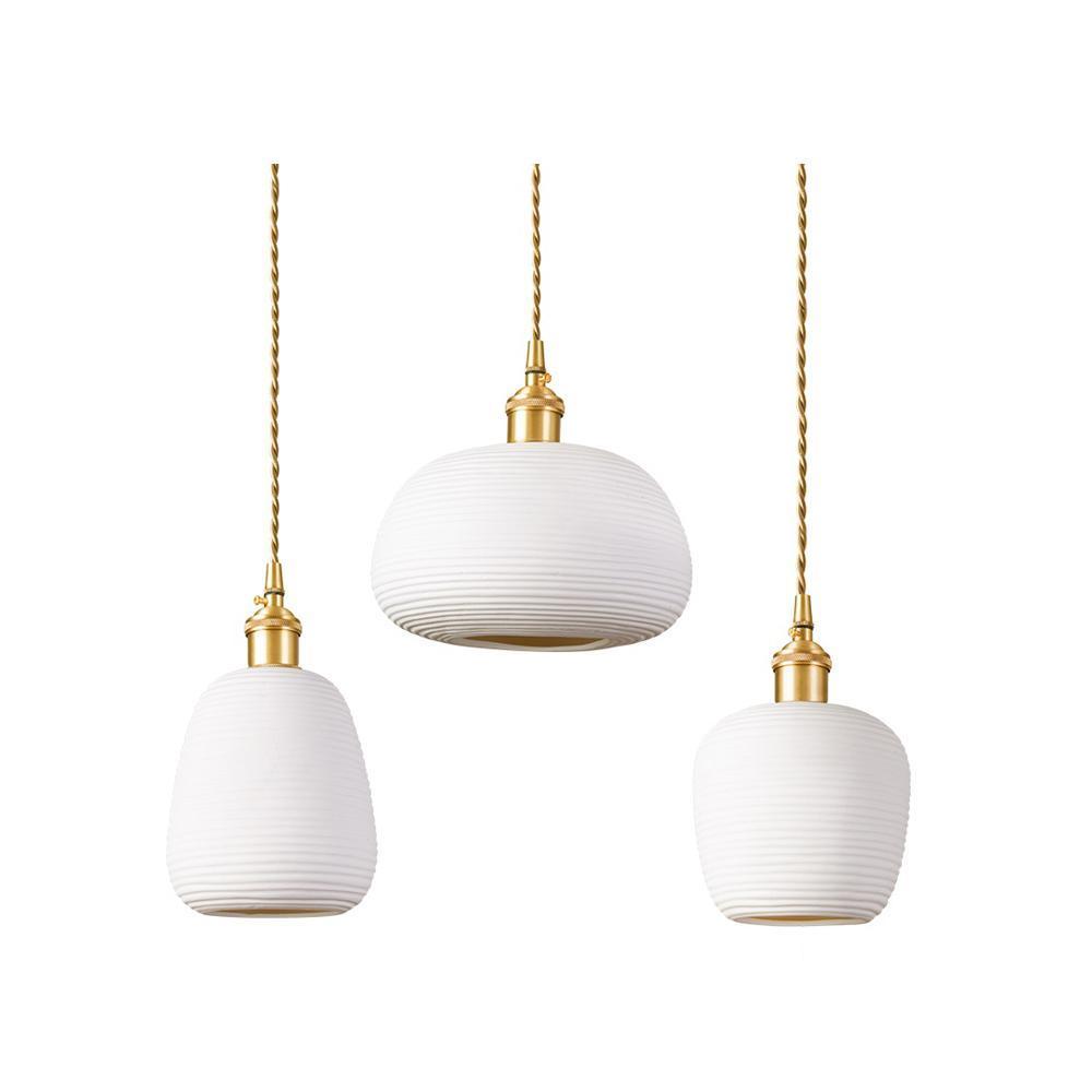 Nordic Simple Copper Pendant Lights Ceramic Hanglamp Art Lighting Living Room Dining Room Bedroom Loft Restaurant Pendant  Lamp