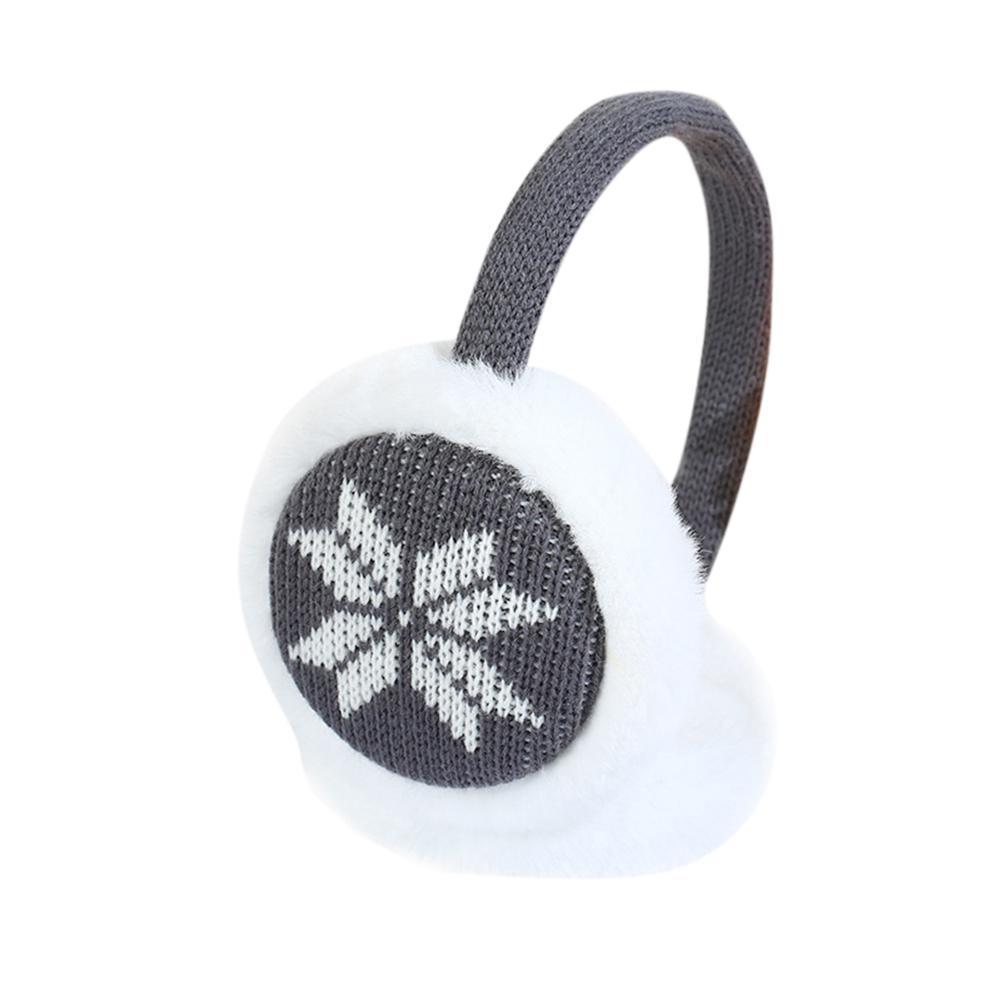 MISSKY Kids Girls Boys Winter Warm Faux Plush Patterned Snowflake Deer Ear Warmer Knitted Adjustable Earmuffs