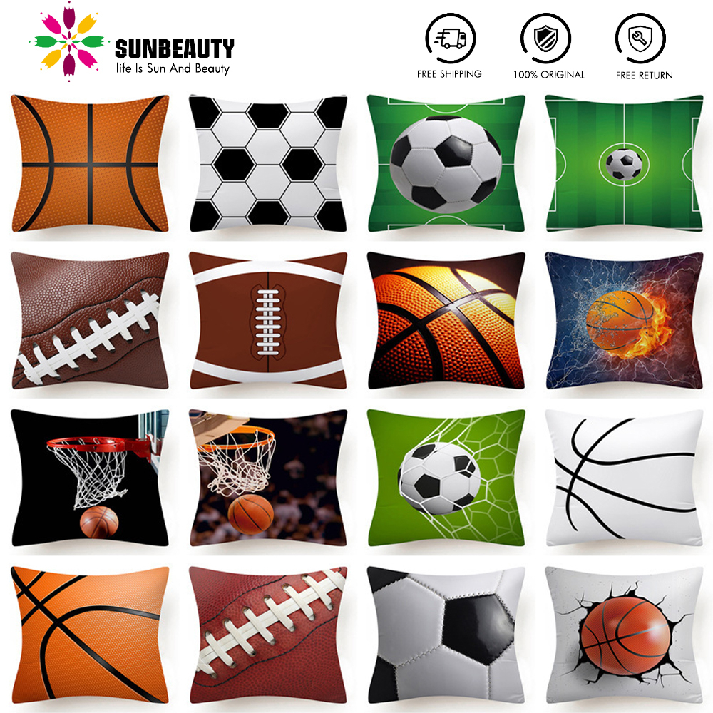 SUNBEAUTY Decorative Throw Pillow Covers Sports Football Cushion Covers Square 45x45cm Pillow Case Home Decor Sofa Living Room