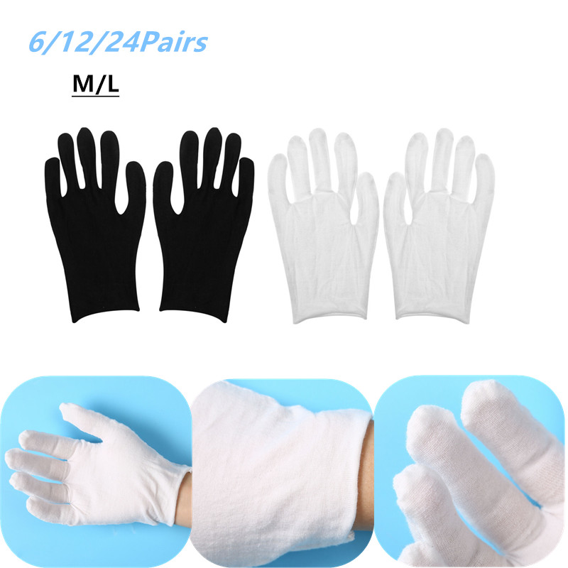 6/12/24pairs White Cotton Household Gloves Lightweight Thin Soft Protective Working Glove For Coin Jewelry Silver Inspection