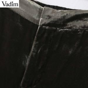 Image 4 - Vadim frauen elegante samt lange hosen elatic taille zipper fly taschen büro tragen feste beiläufige knöchel länge hosen KB207