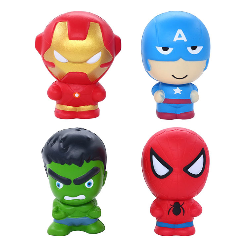 Ormino Squeeze Toys Cute Super Hero Squishy Spiderman Iron Man Slow Rising Soft Bread Scent Stress Relief For Kid Fun Gift Toys