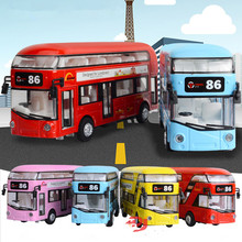 1:50 Children Open Door Acousto Optic Sightseeing Bus Model Alloy Double Deck Tour Bus Air Conditioning Bus City Boys Toy 110