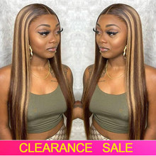 Cheap Highlight Straight Closure Wig 180 Density Ombre Straight Lace Front Human Hair Wigs T PART Transparent Lace Frontal Wigs
