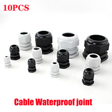 Waterproof Cable Gland 10pcs Cable entry IP68 PG7 for 3-6.5mm PG9 PG11 PG13.5 PG16 PG19/21/ White Black Nylon Plastic Connector