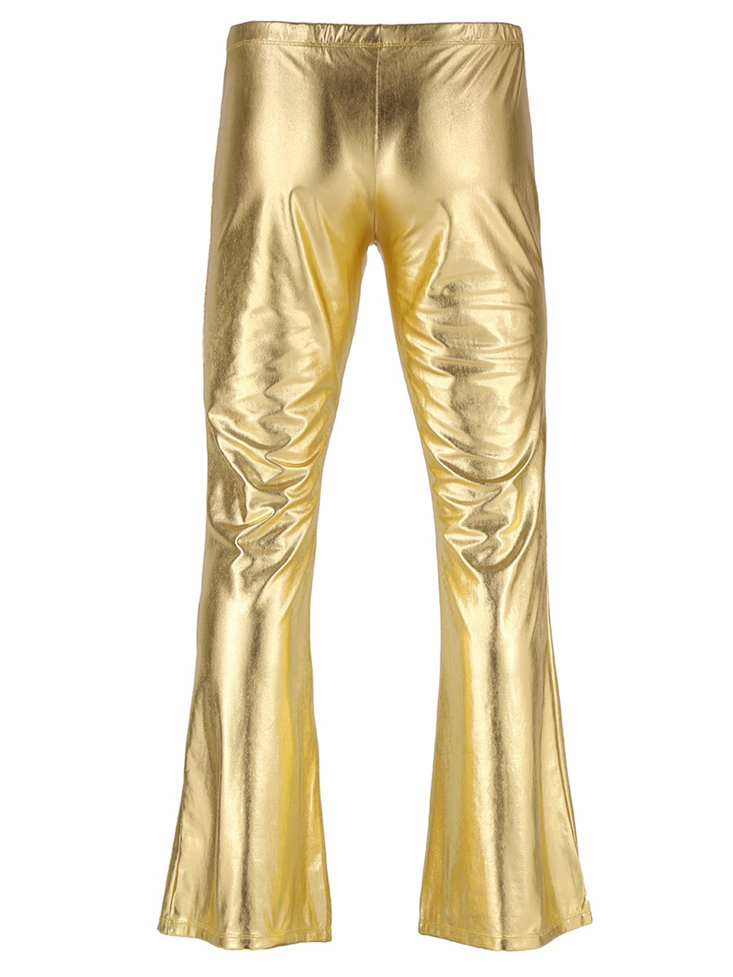ChicTry Adults Mens Shiny Metallic Disco Pants with Bell Bottom Flared Long Pants Dude Costume Trousers for 70's Theme Parties 40