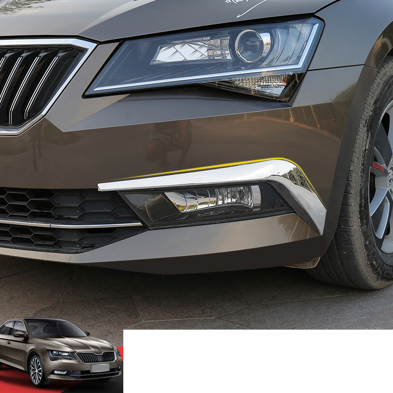 Lsrtw2017 Abs Car Front Bumper Anti collision Strip Trims for Skoda Superb 2016 2017 2018 2019 2020 in Interior Mouldings from Automobiles Motorcycles