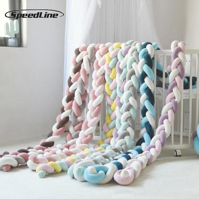 3 m cores misturadas trançado berço pára-choques nó travesseiro nó almofada de reforço travesseiro berço cama do bebê pára-choques crianças travesseiro berçário decoração