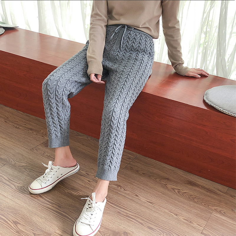 Women Casual Harem Pants Winter Thicken Drawstring Women Knitted Pants Autumn Winter Twisted Sweater Trousers 2019
