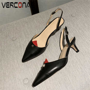 VERCONAS Casual Woman Pumps 2020 Brand Design Genuine Leather Woman Sandals Metal Decoration Pointed Toe Thin Heels  Shoes Woman