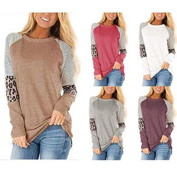 2020 wiosna kobiet Leopard t-shirty moda Stripe Patchwork kobiety koszulki z długim rękawem O-Neck Streetwear swetry koszulki tanie i dobre opinie flashdeals Poliester Topy Tees Pełna REGULAR 599924123979 WOMEN NONE Suknem