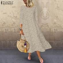 ZANZEA,, богемное платье, женское, в горошек, с принтом, Vestidos, для девушек, для праздника, вечеринки, вечернее, длинное, макси платье, длинная рубашка, Robe Femme