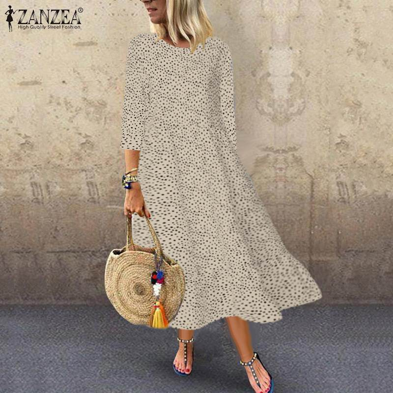 ZANZEA Robe Maxi-Dresses Long-Shirt Holiday Print Polka-Dot Party-Evening Femme Women title=