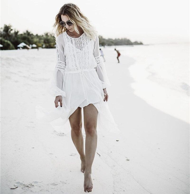 Tunic Cover-ups White Chiffon Lace Tunic Long Split Beach Dress Summer Women Beachwear Sexy Swimsuit Cover Up