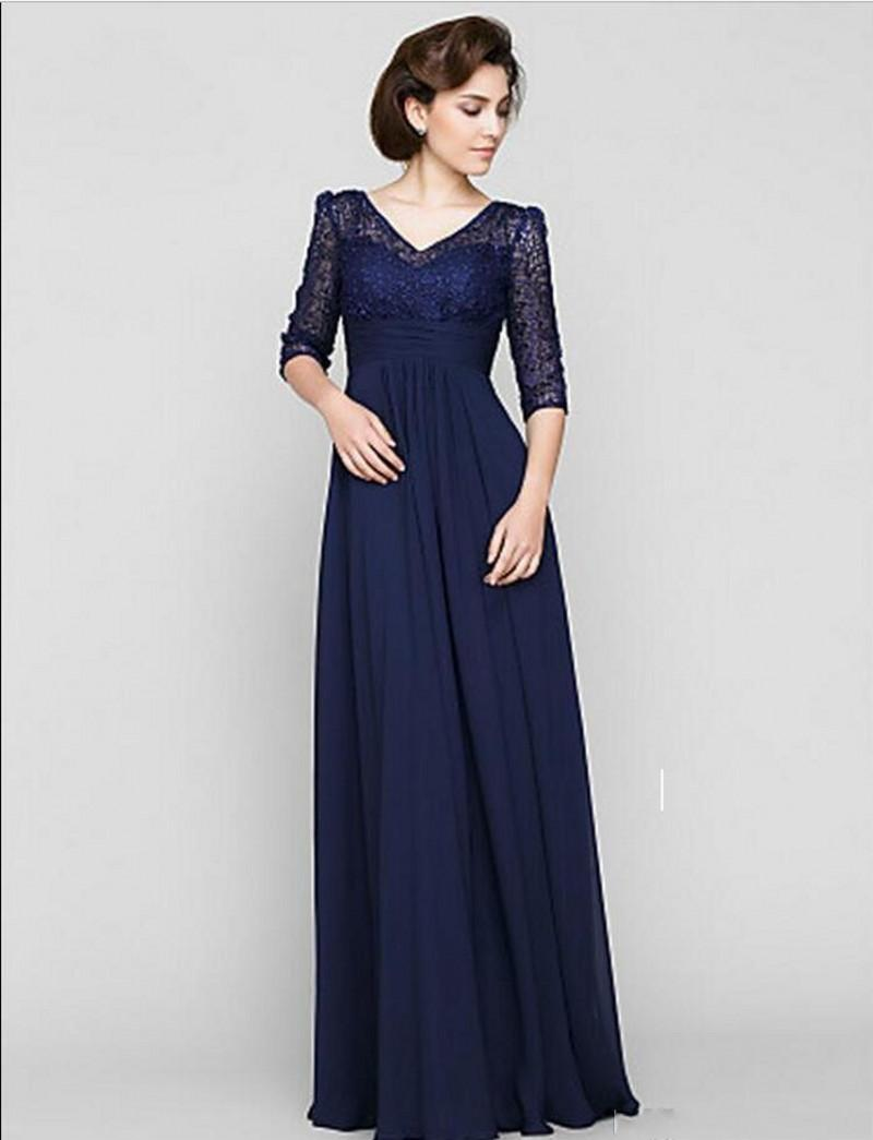 V-neck A-Line Half Sleeve Lace Chiffon Evening Gowns Formal Godmother Groom 2018 Dark Navy Lace Mother Of The Bride Dresses