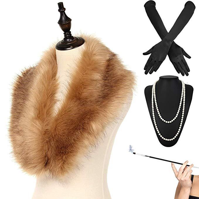 Ladies Gatsby FLAPPER Fancy Dress Accessories 1920s Accessories Faux Fur Collar For Winter Coat Coldker