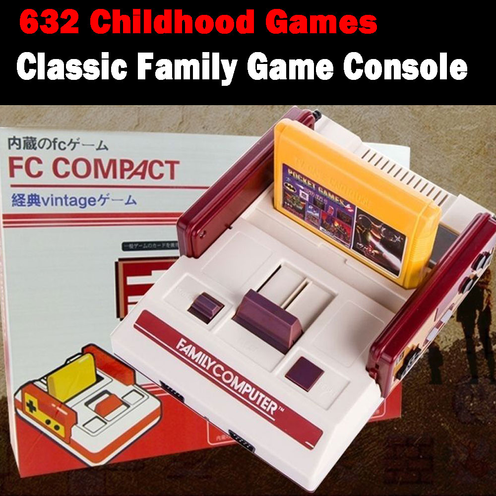 RS-35 Classic Childhood Games TV Video Family Game Console 8 Bit Games Host Family Computer with 2 Control Handles FC Compact