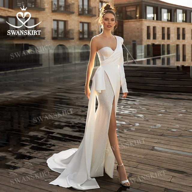 Chic Beaded Satin Wedding Dress New 2 In 1 Long Sleeve Mermaid Bridal Gown Court Train Princess SwanSarah P150 Vestido De Novia 2