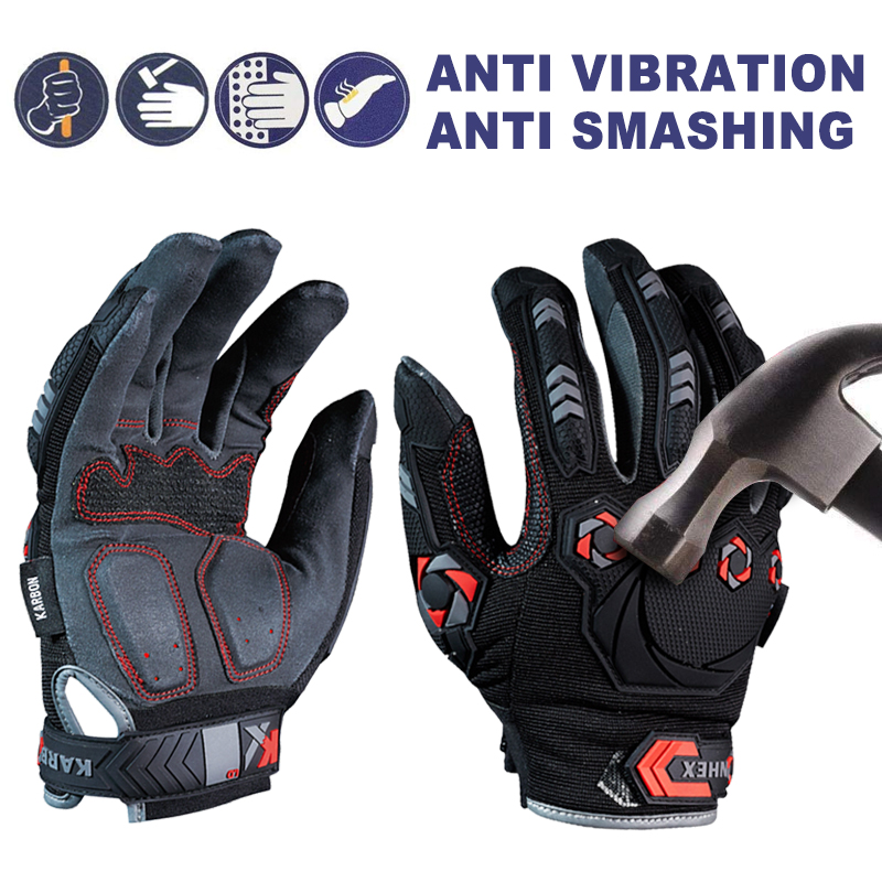 1 Pair Anti Vibration Working Gloves Vibration and Shock Gloves Anti Impact Mechanics Breathable Anti Smashing Safety Gloves