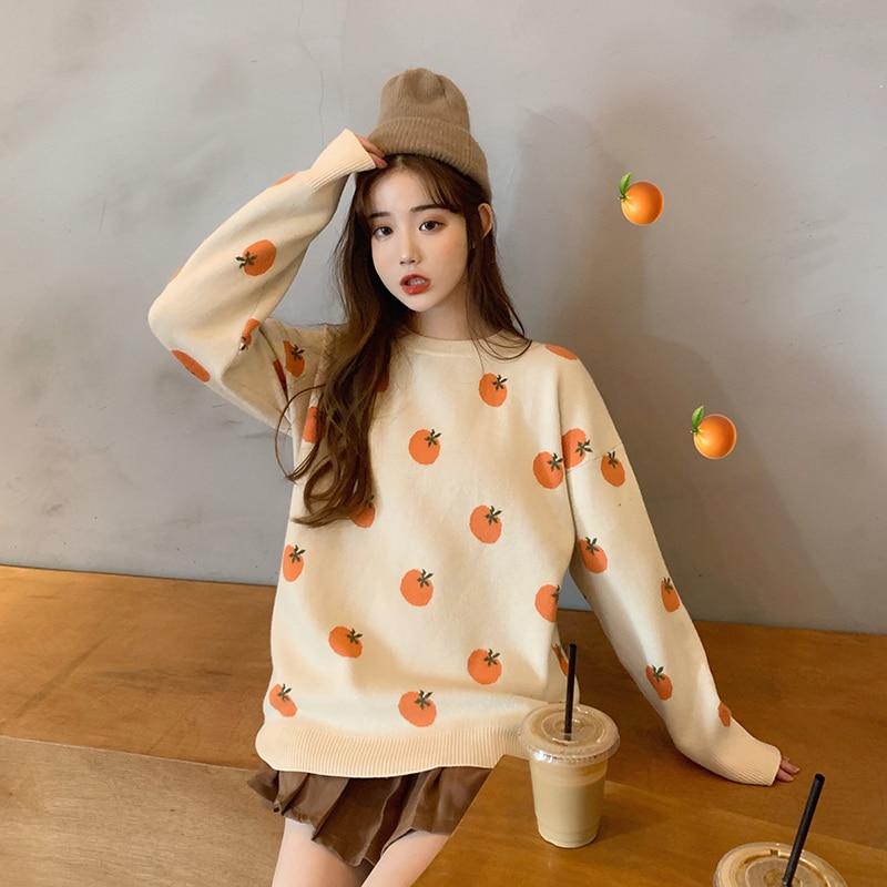 Sweet Cute Round Neck Sweater Female Korean Vintage Harajuku Women's Sweaters Japanese Kawaii Ulzzang Clothing For Women