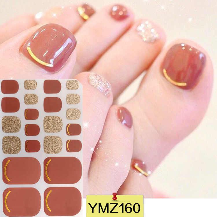 22Tips Shiny Teennagel Sticker Volledige Cover Voeten Decoraties Gemengde Patronen Nail Wraps Beauty Ontwerp Waterdichte Teennagel Art Manicure